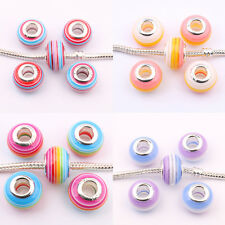5/20Pcs Multicolor Acrylic Metal Big Hole Beads Charm Fit European Bracelets