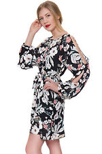 Womens Chiffon Floral Cut Out Shoulder Belted Long Sleeve Ladies Lined Dress