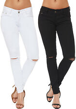 Womens Ripped Skinny Leg Jeans Low Rise Distressed Cut Slim Fit Trousers Pants