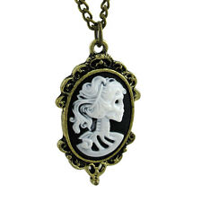 Victorian Skeleton Framed Cameo Steampunk Necklace 24 in. Chain