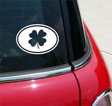 4 FOUR LEAF CLOVER LUCK GRAPHIC DECAL STICKER ART CAR WALL DECOR  EURO OVAL