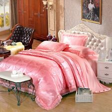 Lace Satin Duvet Quilt Doona Cover Set Queen King Size Bed Linen Pillowcases New