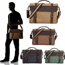 Vintage Canvas Leather Messenger traveling Briefcase shoulder laptop Bag Satchel