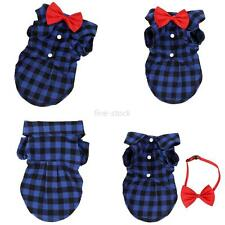 Pets Dogs Puppy Plaid T-shirt Casual Shirt + Bowtie Party Outfit Pets Clothes
