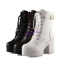 Womens High Heel Block Chunky Lace Up Buckle Ankle Boot Platform Punk Shoes Size
