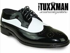 New Men's Black White Patent Tuxedo Wing Tip Lace Up Oxford Dress Shoes Formal