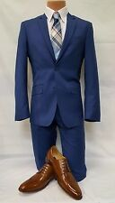 New Mens French Royal Blue Formal 2 Piece Casual Slim Fit Tuxedo Suit TUXXMAN