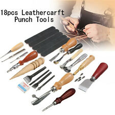 Sewing Leather Craft Leatherworking Tools Kit Hand Punch Skiving Knife Groover