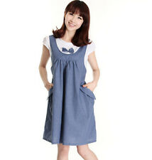 New Women's Pregnant Dress Short Sleeve Bowtie Pockets Casual Maternity Dress