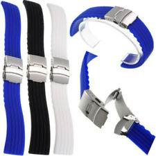 Black Silicone Rubber Watch Strap Band Deployment Buckle Waterproof 20mm ~ 22mm