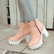 New Womens zip up ankle boots platform chunky heels fashion shoes