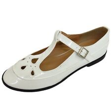 LADIES DOLCIS PATENT WHITE FLAT T-BAR GEEK MARY JANE PUMPS WORK SHOES SIZE 3-8