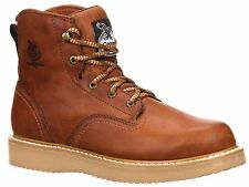 Georgia Men's Wedge Steel Toe Lace Up Ankle Work Boots Barracuda Gold G6342