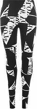 New Womens Plus Size Black White Full Length Long Leggings Ladies Letters Print