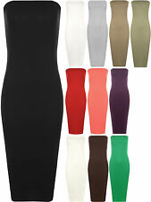 New Plus Womens Boob Tube Strapless Stretch Bodycon Long Ladies Midi Dress