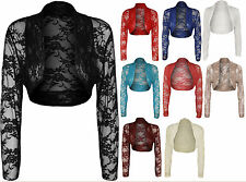 New Womens Plus Lace Long Sleeve Ladies Shrug Bolero Cropped Cardigan Top