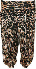 New Womens Plus Size Snake Print Baggy Ladies Cuffed Harem Pants Trousers