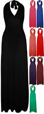 New Plus Size Womens Halter Neck Sleeveless Ladies Plain Long Maxi Dress