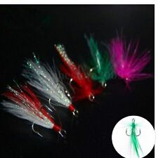 10pcs 4# 6# 8# Feather Fishing Hooks Treble For Minnow Fishing Lures Crankbaits