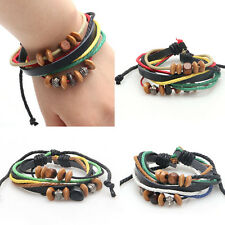 New Punk Faux Unisex Leather Beaded braided Multilayer Woven Wrap Bracelet
