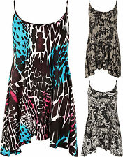 New Womens Plus Strappy Abstract Animal Paisley Print Cami Swing Vest Ladies Top