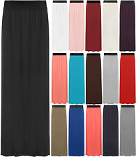 New Plus Size Womens Plain Stretch Elasticated Ladies Full Long Maxi Skirt