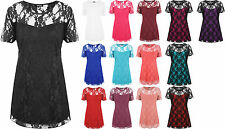 New Ladies Lace Lined Top Womens Plus Size Stretch Short Sleeve Top