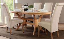 Townhouse & Boston Extending Oak Dining Table and 4 6 Chairs Set (Ivory)
