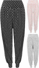 New Ladies Plus Size Polka Dot Harem Trousers Womens Spot Stretch Leggings Pants
