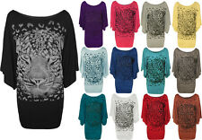 New Plus Size Womens Tiger Glitter Print Ladies Batwing Sleeve T-Shirt Top