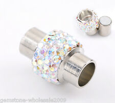 Wholesale Lots Silver Tone AB Color Rhinestone Magnetic Clasps 17x12mm