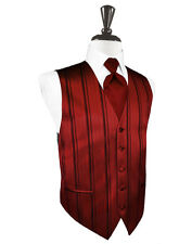 New Mens Size Apple Red Striped Tuxedo Vest Tie Set Formal Wedding Groom Prom
