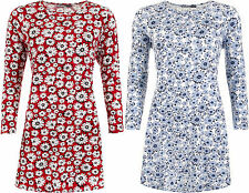New Womens Plus Size Floral Print Long Sleeve Flared Ladies Swing Dress