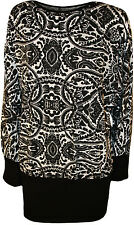 New Womens Plus Size Paisley Print Long Batwing Sleeve Ladies Stretch Top