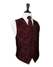 New Mens Apple Red Tapestry Tuxedo Vest Bow Tie Set Formal Wedding Prom All Size