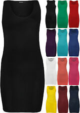 New Plus Size Womens Racer Back Sleeveless Ladies Mini Dress Long Vest Top