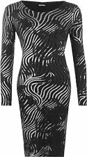 Plus Womens Lurex Glitter Striped Sparkle Long Sleeve Knee Length Ladies Dress