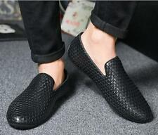 Mens PU Leather knit Breathable Slip On Casual Driving Shoes Loafer moccasin