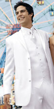 40R White Perry Ellis Tuxedo Suit Clearance Package Discount Winter Formal Tux