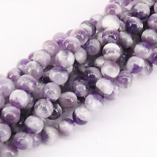 """Purple Striped Crystal Round Loose Spacer Beads 15"""" Bunch Fit Bracelet 4-12mm"""