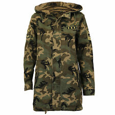 Ladies Jacket Brave Soul Womens Coat Camouflage Military Badge Hooded Fish Tail
