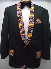 BLACK FLAMES FIRE PRINT VINTAGE PROM TUXEDO SMOKING JACKET mens sizes 34 - 42