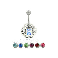 Sterling Silver Antique Design Belly Ring with Jewel