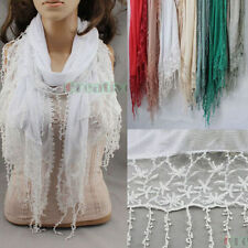 Women's Striped Cotton Embroidery Floral Mesh Lace Tassel Long/Infinity Scarf