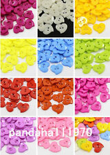 100PCS  Cute Acrylic Heart Buttons Plastic Sewing Buttons for Costume Design
