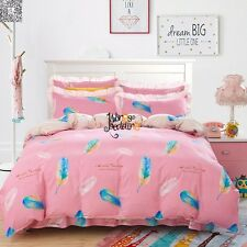 100%Cotton New 3pcs Pink Twin Full Queen King Size Duvet/Quilt Cover Bedding Set