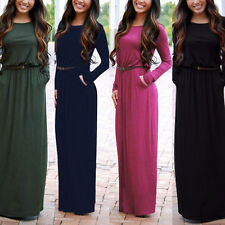 Spring Women's Crew Neck Long Sleeve Casual Loose Party Evening Long Dress