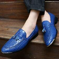 Mens Fashion Tassel Slip On Loafers Oxfords Patent Leather Brogue Shoes pointy