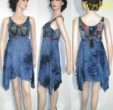 SAVE THE QUEEN blue RUFFLED skirt PATCHWORK bohemian dress NWT Authentic!