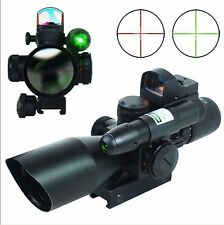 2.5-10X40 Tactical Rifle Scope w/ Green Laser + Mini Reflex 3 MOA Red Dot Sight